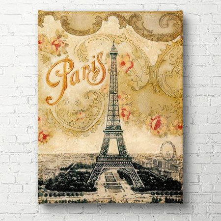 Tablouri Canvas, Turnul Eiffel pe un fundal galben