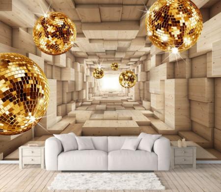 Fototapet 3D, Tunelul din cuburi din lemn și sfere strălucitoare
