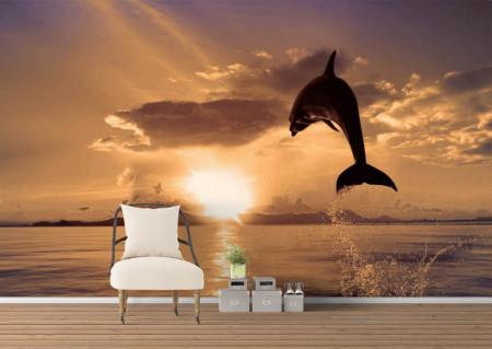 Fototapet, Delfini la apusul soarelui