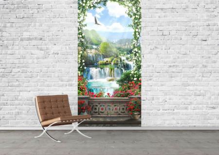 Fototapet Fresco, Vederea de la balcon la cascadă în grădină