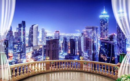 Fototapet Fresco, Vederea de la balconul din orașul de noapte