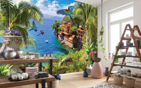 Fototapet Mare, Peisaj frumos cu vedere la ocean și la vilă