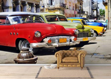 Fototapet, Parcul auto de-a lungul străzii