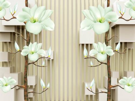 Fototapete 3D, Flori bej pe un fond dungi maro