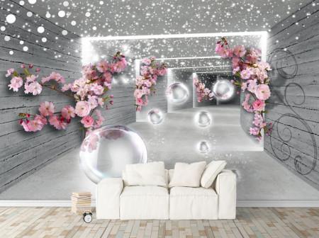 Fototapete 3D, Flori roz pe un fundal gri tunel