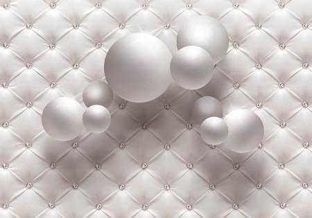 Fototapete 3D, Sfere albe pe un fundal alb cu pietre prețioase