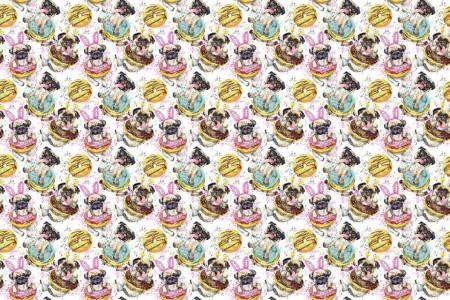 Fototapete, Câini și prăjituri frumoase pe un fundal alb