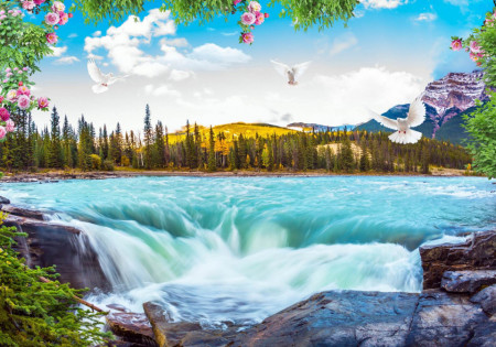 Fototapete, Cascada pe fundalul unui frumos peisaj.