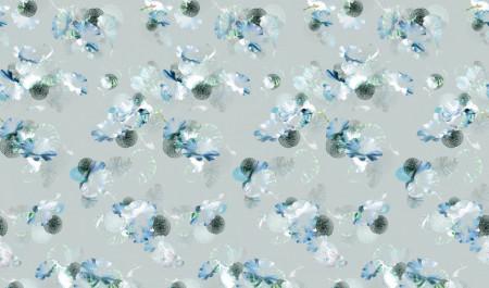 Fototapete, Flori albastre pe fond gri
