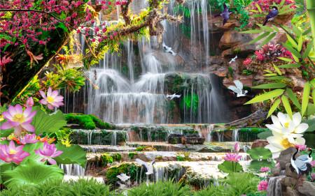 Fototapete, Parcul de flori înflorit cu o cascadă