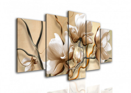 Multicanvas, Flori bej pe fundal de linii.