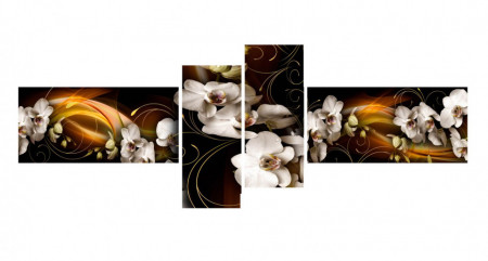 Multicanvas, Orhidea albe pe un fond abstract maro