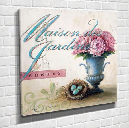 Poster, Flori roz într-o vază albastră