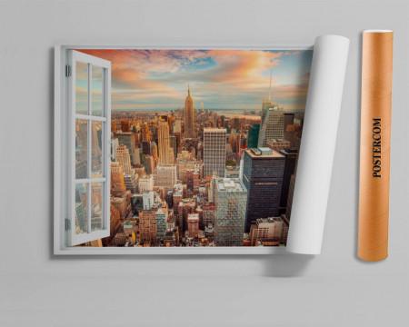 Stickere pentru pereți, Fereastra 3D cu vedere spre New York-ul de seară