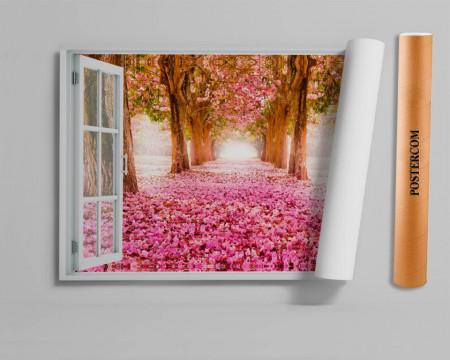 Stickere pentru pereți, Fereastra 3D cu vedere spre o alee cu flori roz