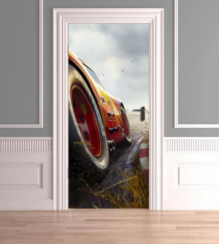 Stickerele decorative, pentru uși, Mașina de curse , 1 foaie de 80 x 200 cm