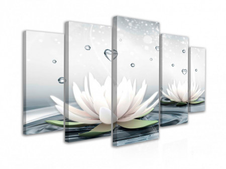 Tablou modular, Flori de Lotus albe