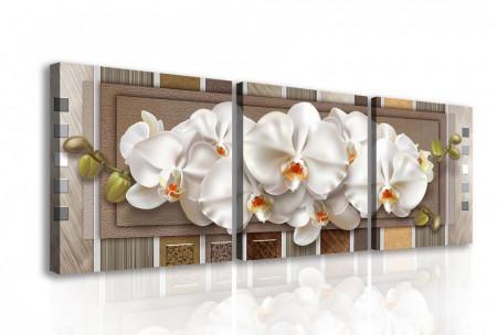 Tablou modular, Orhidee albă pe un fundal în dungi