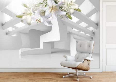 Fototapet 3D, Crini albi cu ornamente aurii pe un fundal 3D
