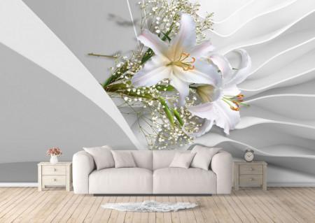Fototapet 3D, Crini albi pe un fundal cu aspect de mătase