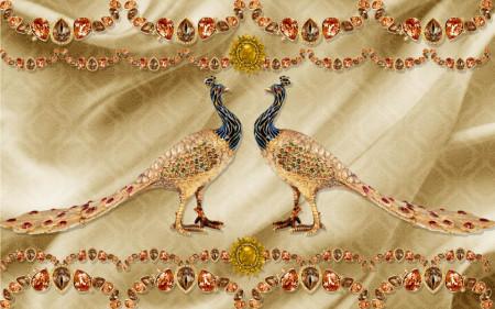 Fototapet Fantezie, Broșă de aur sub formă de păuni pe un fond auriu