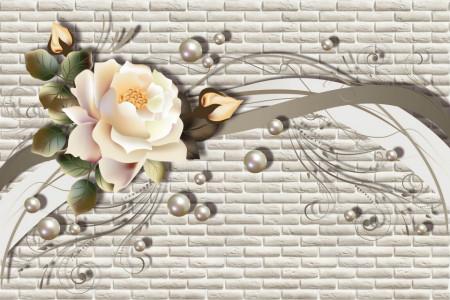 Fototapet Fantezie, Trandafir delicat pe un fond gri cu linii