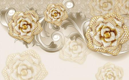 Fototapet Fantezie, Trandafiri aurii cu pietre pe un fond bej
