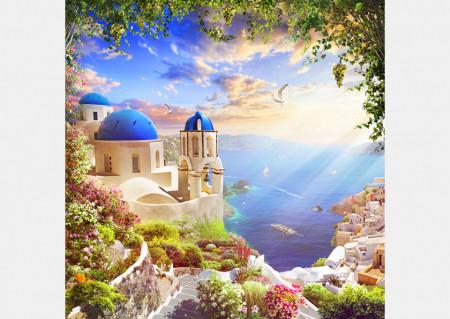 Fototapet Fresco, Priveliștea frumoasă a mării în Grecia