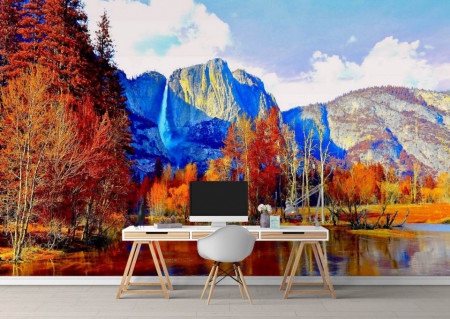Fototapet Natura, Peisaje, Pădurea și munții toamna