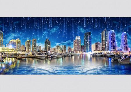Fototapet Orase, Un oraș albastru pe apă