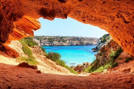 Fototapet, Priveliștea orașului și a mării din peșteră