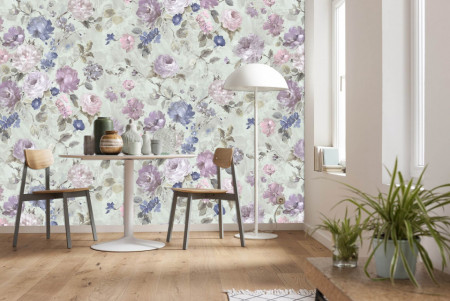 Fototapet, Un fundal floral în culori delicate