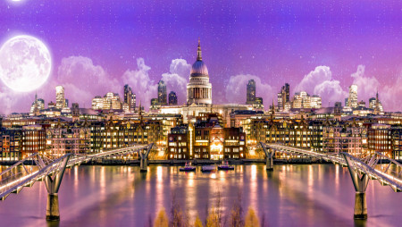 Multicanvas, Orașul de aur cu Luna împotriva cerului roz