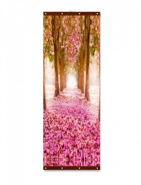 Roll-up, Aleea cu flori roz