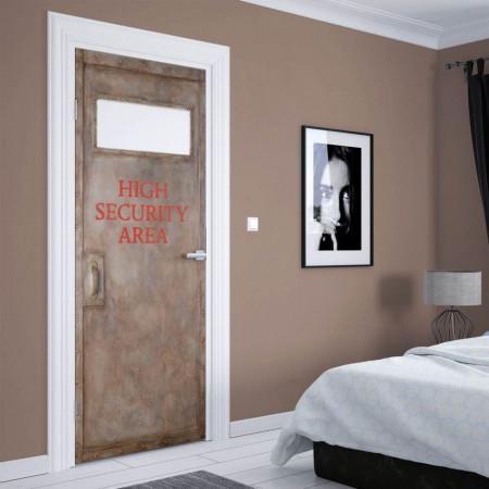 Stickerele decorative, pentru uși, Zona de securitate puternică, 1 foaie de 80 x 200 cm