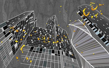 Fototapet Fantezie, Orașul grafic pe un fond gri