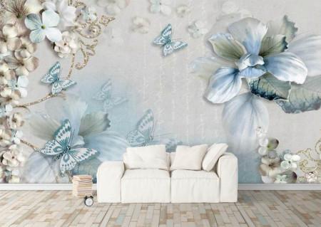 Fototapet, Fluturi albaștri și flori albe