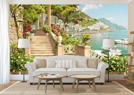 Fototapet Fresco, Balconul lângă lacul