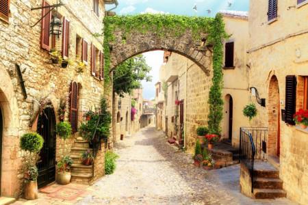 Fototapet Fresco, Strada îngustă cu flori