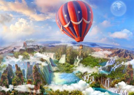 Fototapet Fresco, Un balon zboară pe cer peste un peisaj frumos