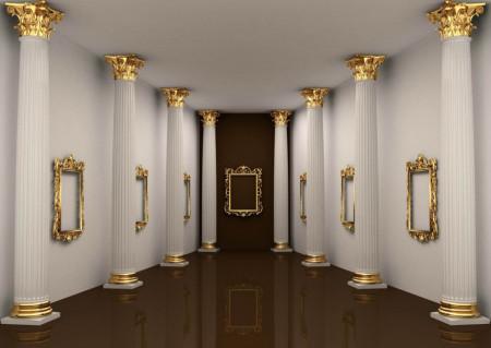 Fototapet Interior, Un culoar cu coloane.