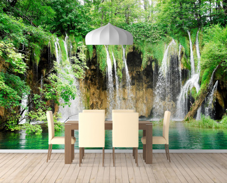 Fototapet, Un parc verde cu o cascadă