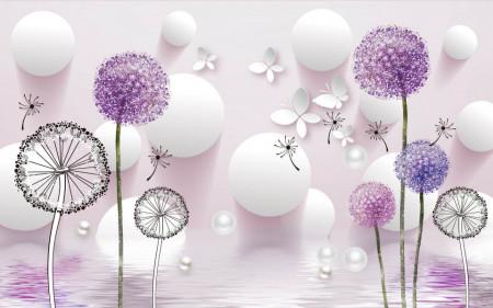 Fototapete 3D, Flori purpurii pe un fundal abstract