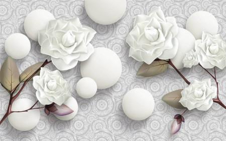 Fototapete 3D, Trandafiri albi și perle albe pe un fundal cu ornamente
