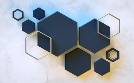 Fototapete, Albastru hexagon pe fond deschis