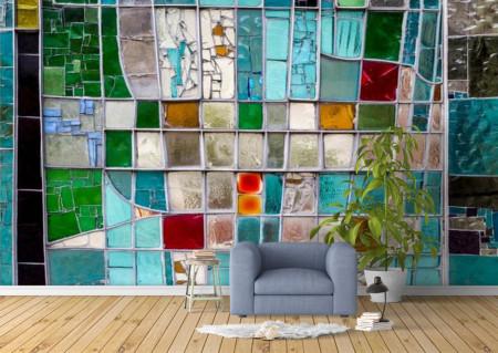 Fototapete, Fereastra vitraliera abstracta cu sticla multi-colorata