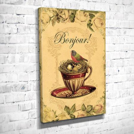 Poster, Cupa pe un fundal de epocă