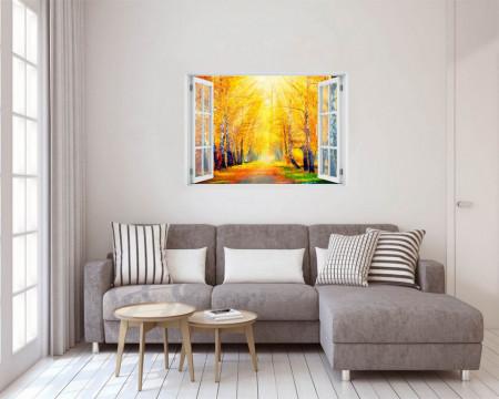 Stickere pentru pereți, Fereastra 3D cu vedere spre un parc galben
