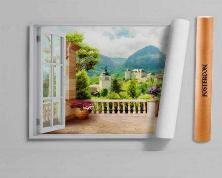 Stickere pentru pereți, Fereastra cu vedere spre curtea castelului