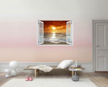 Stickere pentru pereți, Fereastra cu vedere spre un apus de soare la o mare